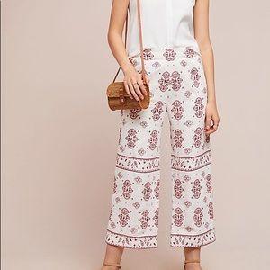 Ett twa Anthropologie embroidered white linen pant